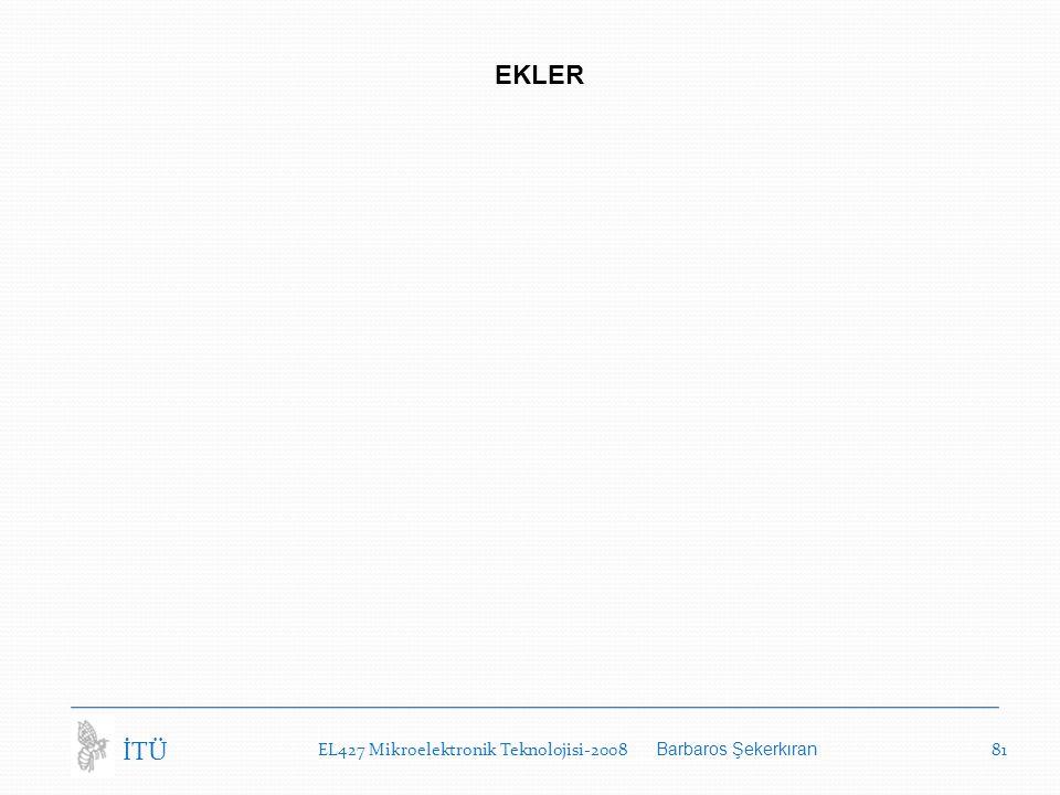EL427 Mikroelektronik Teknolojisi-2008 Barbaros Şekerkıran 81 İTÜ EKLER