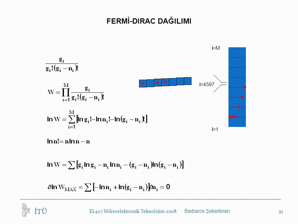 i=1 i=M i=4597 FERMİ-DIRAC DAĞILIMI EL427 Mikroelektronik Teknolojisi-2008 Barbaros Şekerkıran 91 İTÜ