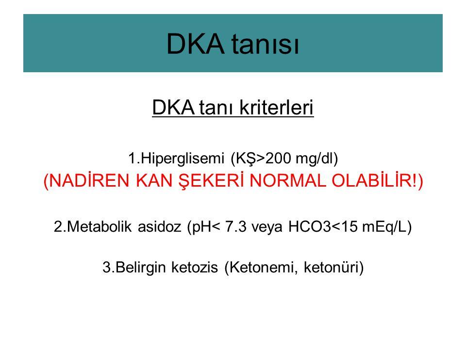 DKA tanısı DKA tanı kriterleri 1.Hiperglisemi (KŞ>200 mg/dl) (NADİREN KAN ŞEKERİ NORMAL OLABİLİR!) 2.Metabolik asidoz (pH< 7.3 veya HCO3<15 mEq/L) 3.Belirgin ketozis (Ketonemi, ketonüri)