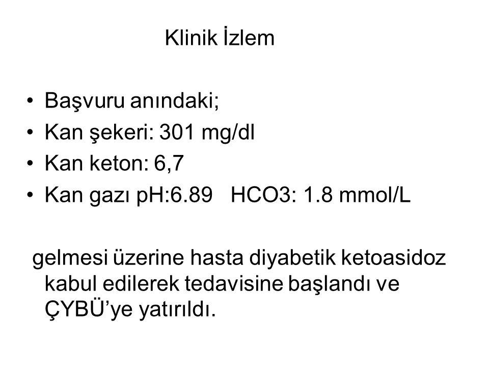 Klinik İzlem Başvuru anındaki; Kan şekeri: 301 mg/dl Kan keton: 6,7 Kan gazı pH:6.89 HCO3: 1.8 mmol/L gelmesi üzerine hasta diyabetik ketoasidoz kabul edilerek tedavisine başlandı ve ÇYBÜ'ye yatırıldı.