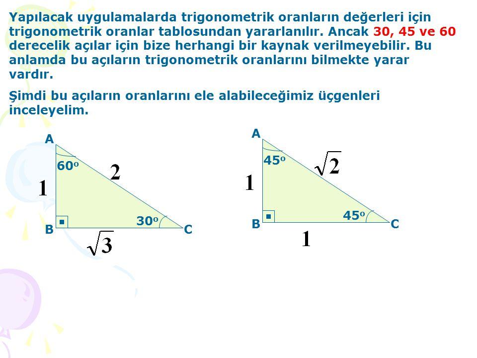 Yapılacak uygulamalarda trigonometrik oranların değerleri için trigonometrik oranlar tablosundan yararlanılır.