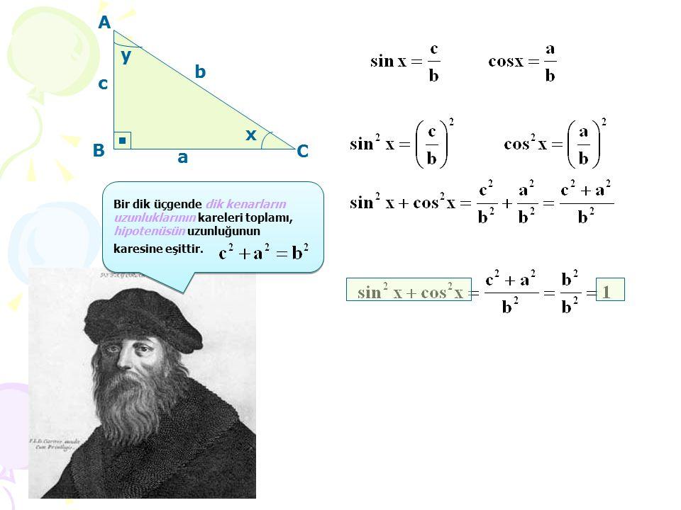 A C x y a b c Bir dik üçgende dik kenarların uzunluklarının kareleri toplamı, hipotenüsün uzunluğunun karesine eşittir.