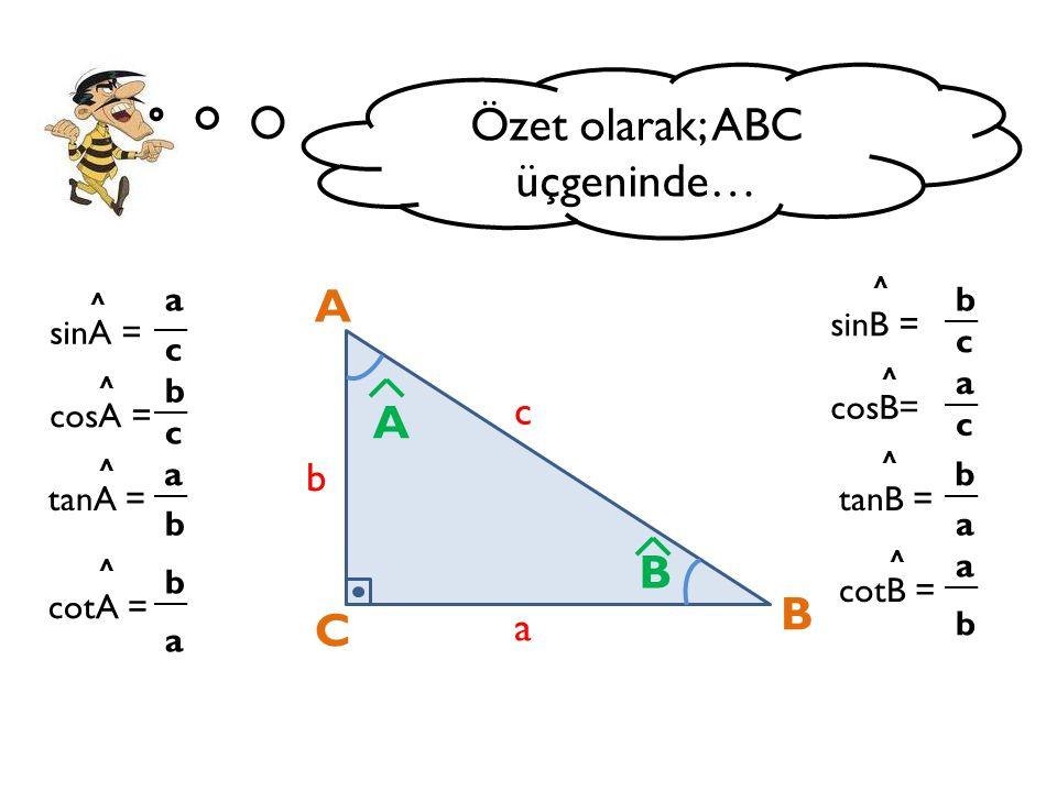 Özet olarak; ABC üçgeninde… A C B a b c B A sinA = a b c cosA = a c tanA = b cotA = b a sinB = b a c cosB= b c tanB = a cotB = a b ^ ^ ^ ^ ^ ^ ^ ^