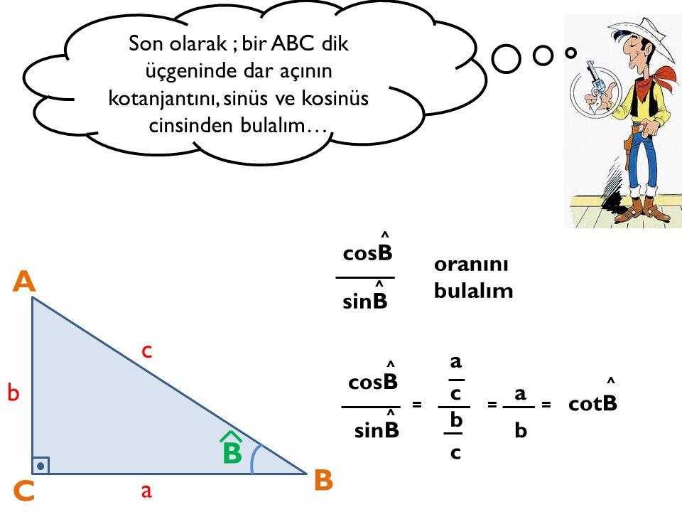 Son olarak ; bir ABC dik üçgeninde dar açının kotanjantını, sinüs ve kosinüs cinsinden bulalım… A C B a b c B cosB sinB = a b c cosB sinB oranını bula