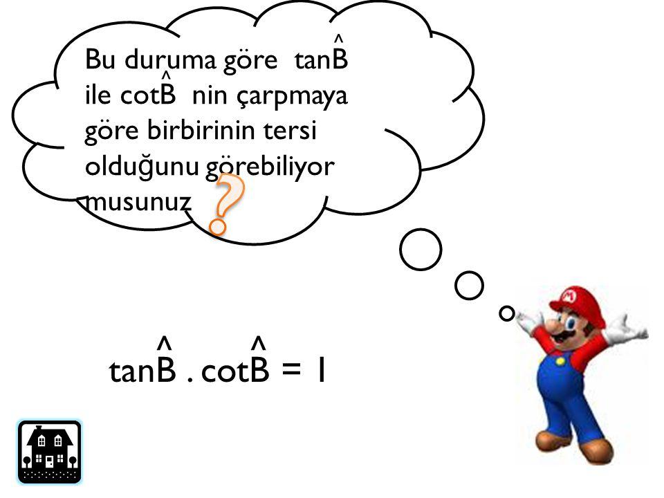 Bu duruma göre tanB ile cotB nin çarpmaya göre birbirinin tersi oldu ğ unu görebiliyor musunuz tanB. cotB = 1 ^^ ^ ^