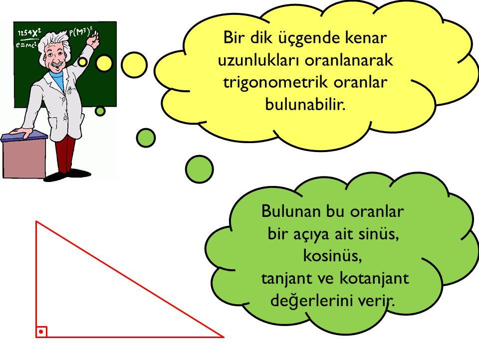 A C B k a r ş ı d i k k e n a r komşu dik kenar h i p o t e n ü s a b c Şimdi bir dik üçgenin elemanlarını isimlendirelim… B