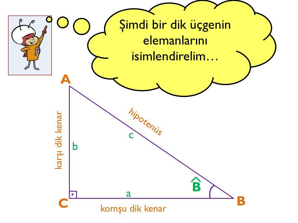 Son olarak ; bir ABC dik üçgeninde dar açının kotanjantını, sinüs ve kosinüs cinsinden bulalım… A C B a b c B cosB sinB = a b c cosB sinB oranını bulalım c = a b = cotB ^ ^ ^ ^ ^