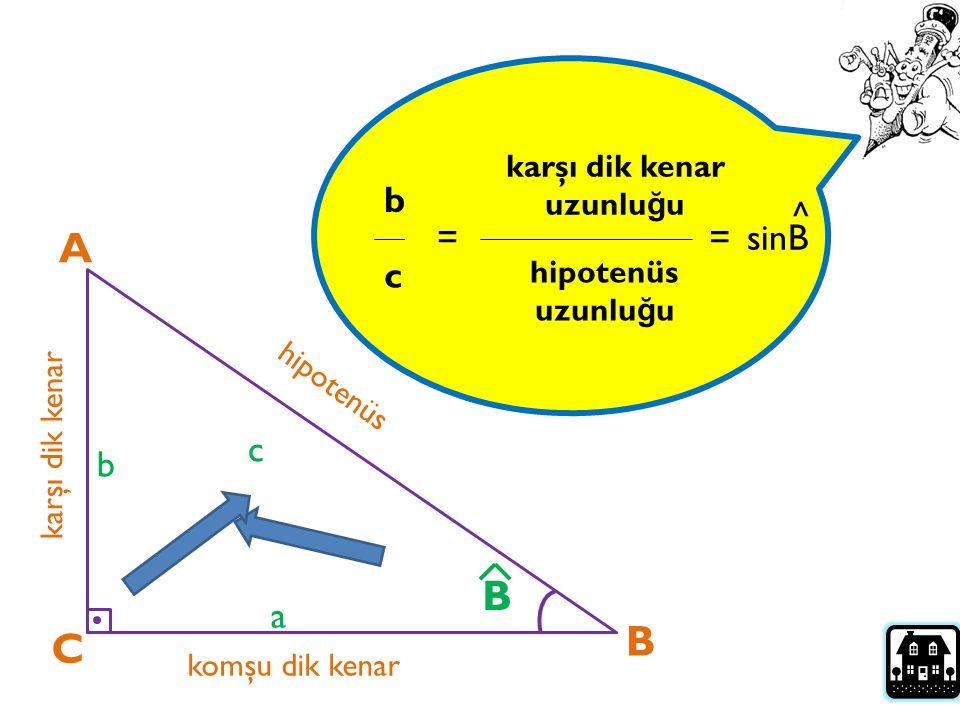 Bir dik üçgende bir dar açının sinüsü; karşı dik kenar uzunlu ğ unun, hipotenüs uzunlu ğ una oranıdır… A C B karşı dik kenar komşu dik kenar hipotenüs a b c B