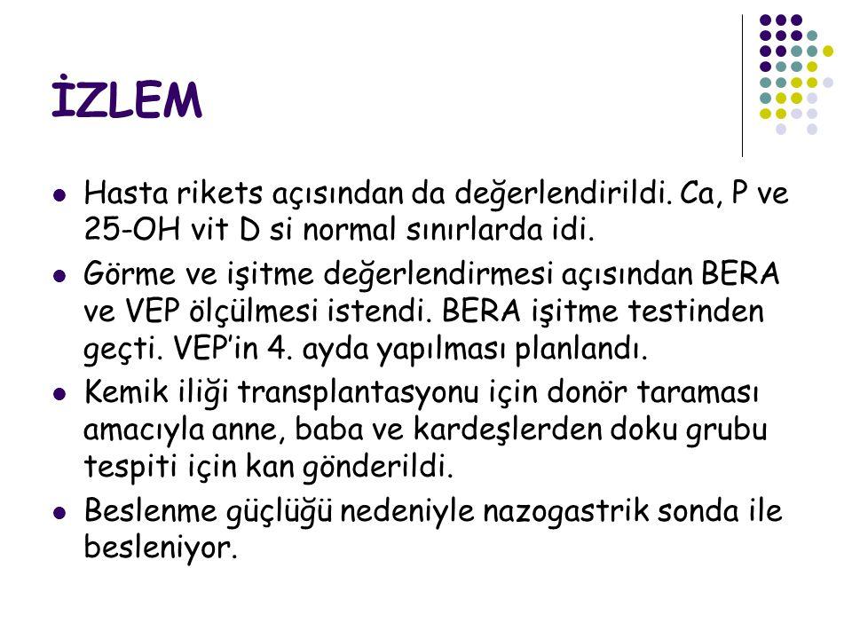 İZLEM Hasta rikets açısından da değerlendirildi.Ca, P ve 25-OH vit D si normal sınırlarda idi.