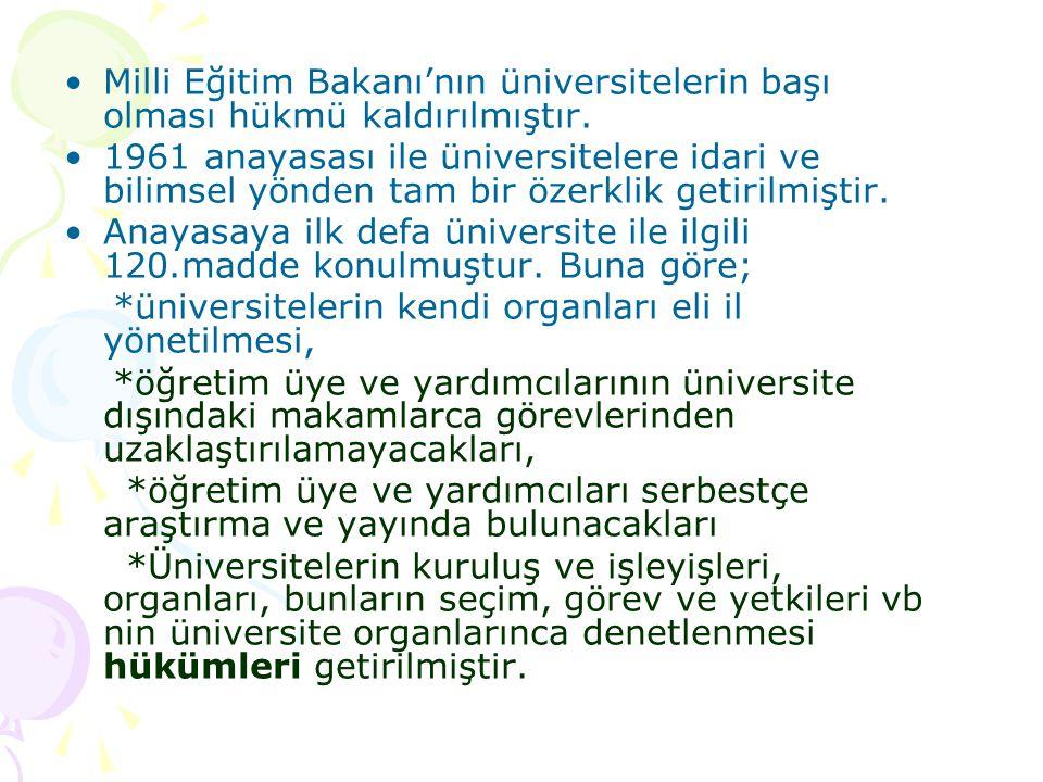 Milli Eğitim Bakanı'nın üniversitelerin başı olması hükmü kaldırılmıştır. 1961 anayasası ile üniversitelere idari ve bilimsel yönden tam bir özerklik