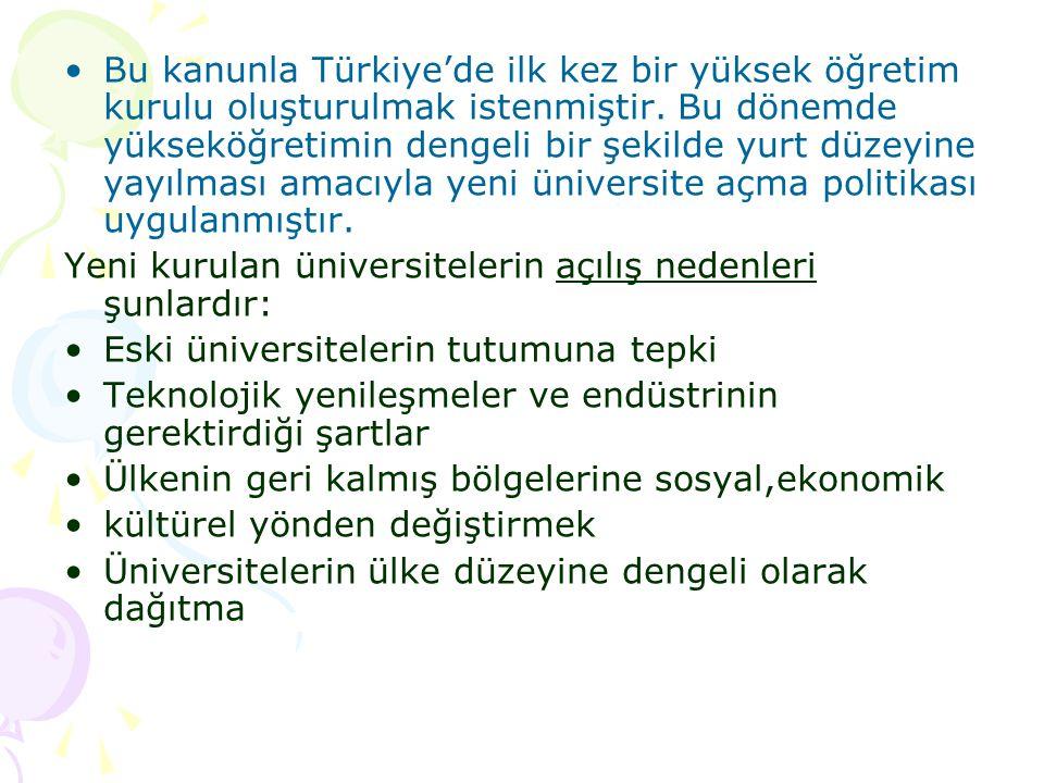 Bu kanunla Türkiye'de ilk kez bir yüksek öğretim kurulu oluşturulmak istenmiştir. Bu dönemde yükseköğretimin dengeli bir şekilde yurt düzeyine yayılma