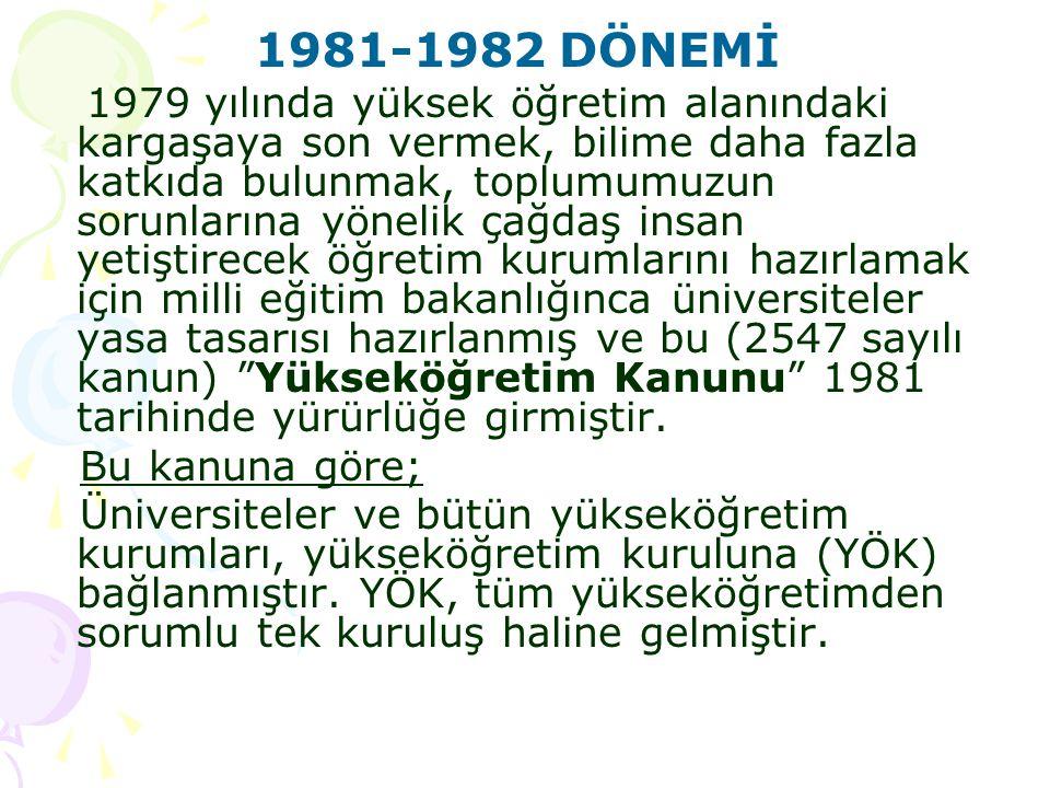 1981-1982 DÖNEMİ 1979 yılında yüksek öğretim alanındaki kargaşaya son vermek, bilime daha fazla katkıda bulunmak, toplumumuzun sorunlarına yönelik çağ