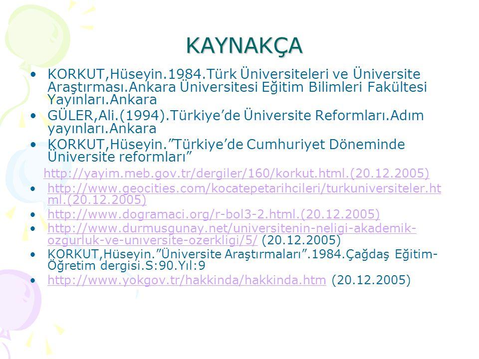 KAYNAKÇA KORKUT,Hüseyin.1984.Türk Üniversiteleri ve Üniversite Araştırması.Ankara Üniversitesi Eğitim Bilimleri Fakültesi Yayınları.Ankara GÜLER,Ali.(