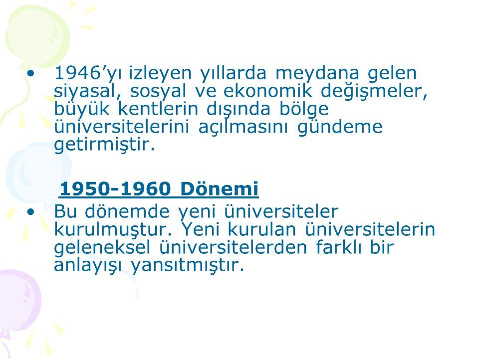 1946'yı izleyen yıllarda meydana gelen siyasal, sosyal ve ekonomik değişmeler, büyük kentlerin dışında bölge üniversitelerini açılmasını gündeme getir