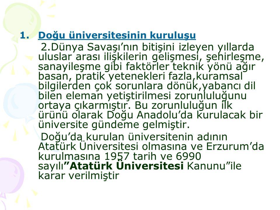 2-Orta Doğu Teknik Üniversitesi Türkiye ve Ortadoğu ülkelerinin kalkınma çabaları için ihtiyaç duydukları bilim adamları ile çeşitli meslek adamlarının çalışma alanı ve fen ve teknik alanlarına eleman yetiştirmek için bir öğretim ve araştırma kurumunun kurulmasına kararlaştırılmış 1959 tarih ve 7307 sayılı Ortadoğu Teknik Üniversitesi Kanunu kabul edilmiştir.