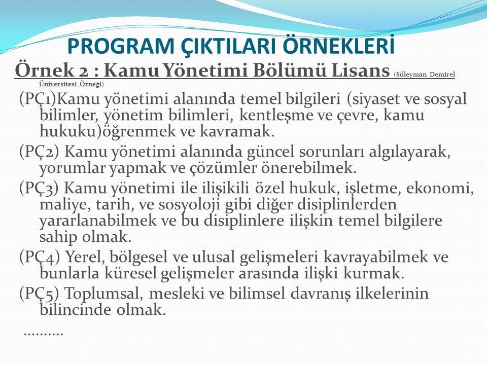 PROGRAM ÇIKTILARI ÖRNEKLERİ Örnek 2 : Kamu Yönetimi Bölümü Lisans (Süleyman Demirel Üniversitesi Örneği) (PÇ1)Kamu yönetimi alanında temel bilgileri (