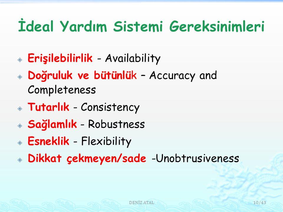 İdeal Yardım Sistemi Gereksinimleri  Erişilebilirlik - Availability  Doğruluk ve bütünlük – Accuracy and Completeness  Tutarlık - Consistency  Sağlamlık - Robustness  Esneklik - Flexibility  Dikkat çekmeyen/sade -Unobtrusiveness 10/43DENİZ ATAL
