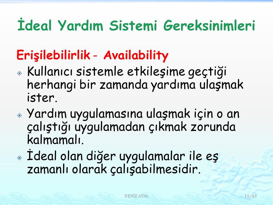 İdeal Yardım Sistemi Gereksinimleri Erişilebilirlik - Availability  Kullanıcı sistemle etkileşime geçtiği herhangi bir zamanda yardıma ulaşmak ister.