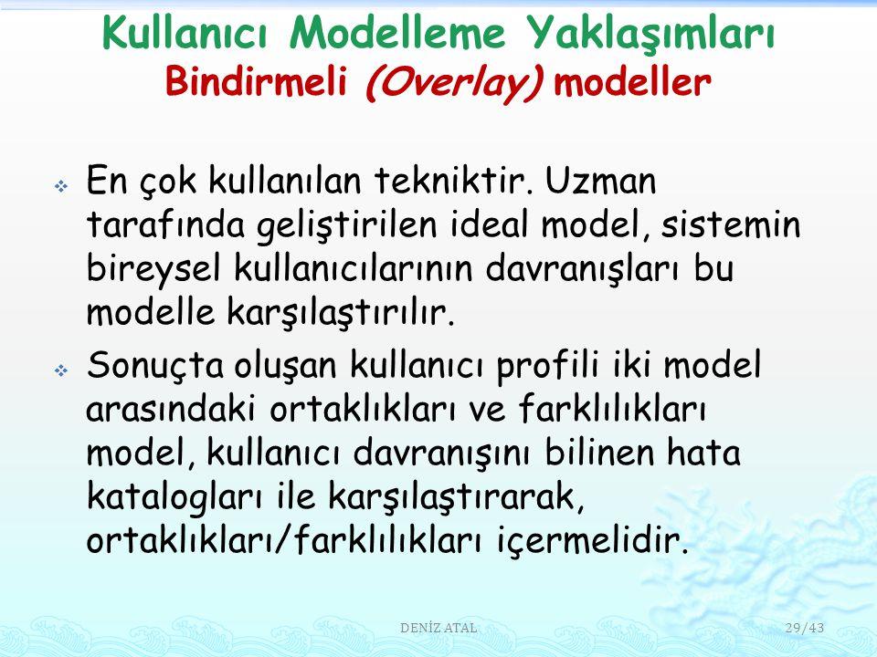 Kullanıcı Modelleme Yaklaşımları Bindirmeli (Overlay) modeller  En çok kullanılan tekniktir.