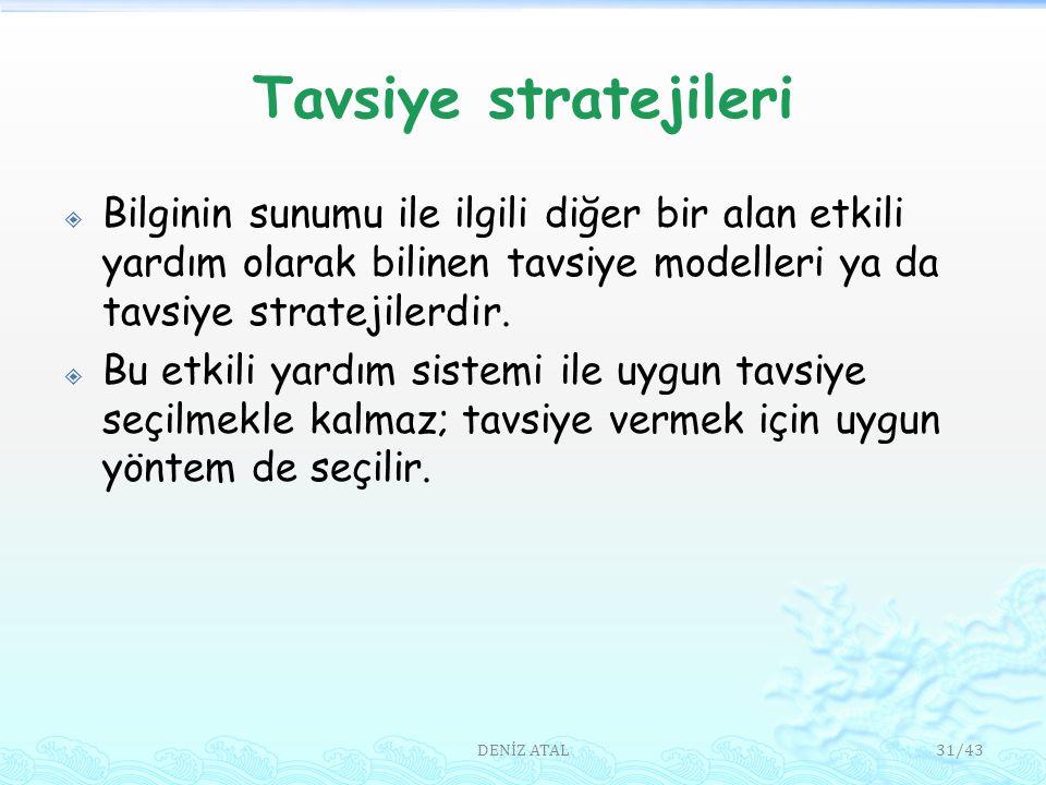 Tavsiye stratejileri  Bilginin sunumu ile ilgili diğer bir alan etkili yardım olarak bilinen tavsiye modelleri ya da tavsiye stratejilerdir.