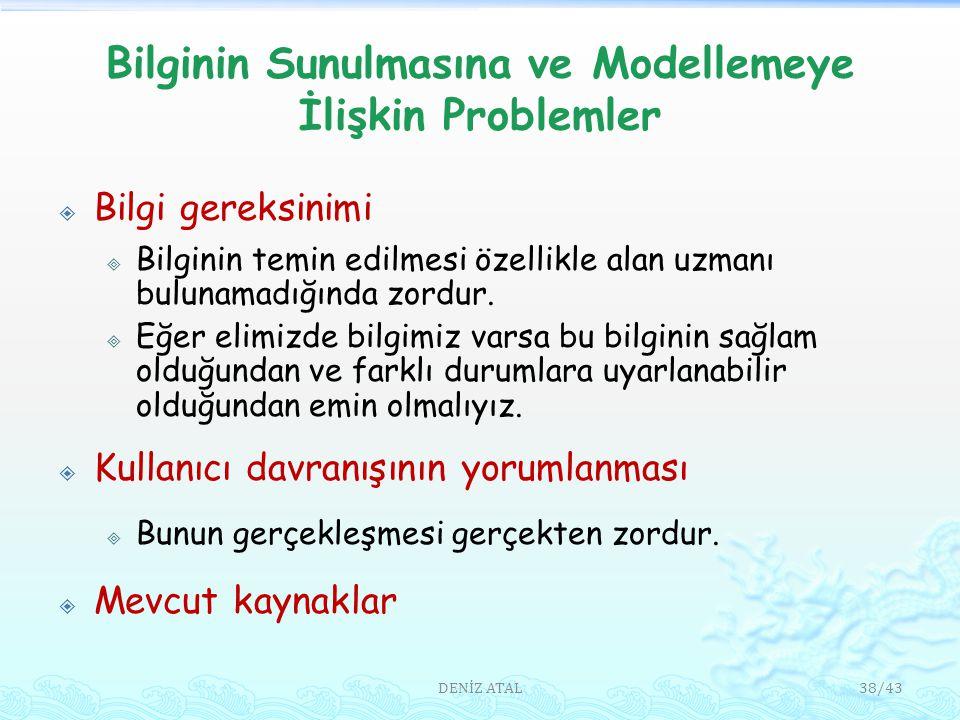 Bilginin Sunulmasına ve Modellemeye İlişkin Problemler  Bilgi gereksinimi  Bilginin temin edilmesi özellikle alan uzmanı bulunamadığında zordur.