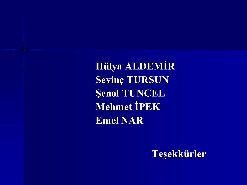 Hülya ALDEMİR Sevinç TURSUN Şenol TUNCEL Mehmet İPEK Emel NAR Teşekkürler