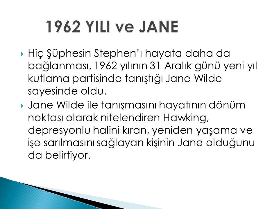  Hiç Şüphesin Stephen'ı hayata daha da bağlanması, 1962 yılının 31 Aralık günü yeni yıl kutlama partisinde tanıştığı Jane Wilde sayesinde oldu.  Jan