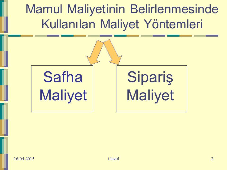 16.04.2015i.lazol2 Mamul Maliyetinin Belirlenmesinde Kullanılan Maliyet Yöntemleri Safha Maliyet Sipariş Maliyet