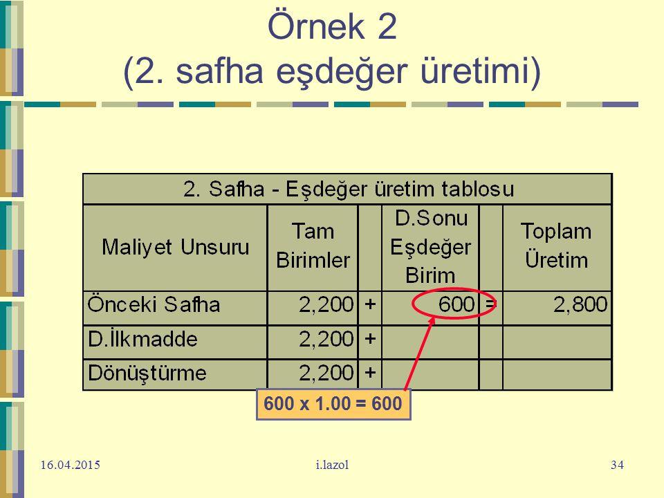 16.04.2015i.lazol34 Örnek 2 (2. safha eşdeğer üretimi) 600 x 1.00 = 600