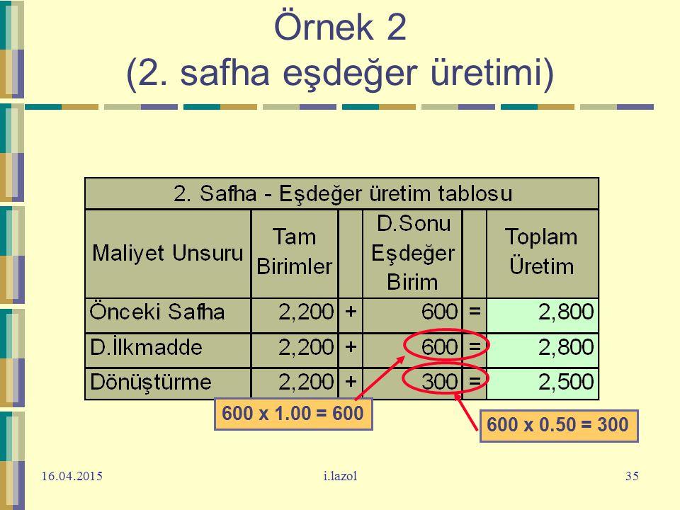 16.04.2015i.lazol35 Örnek 2 (2. safha eşdeğer üretimi) 600 x 1.00 = 600 600 x 0.50 = 300