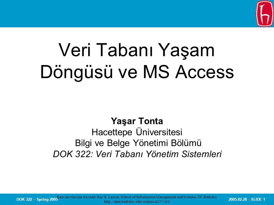 2005.02.28 - SLIDE 1DOK 322 – Spring 2005 Veri Tabanı Yaşam Döngüsü ve MS Access Yaşar Tonta Hacettepe Üniversitesi Bilgi ve Belge Yönetimi Bölümü DOK