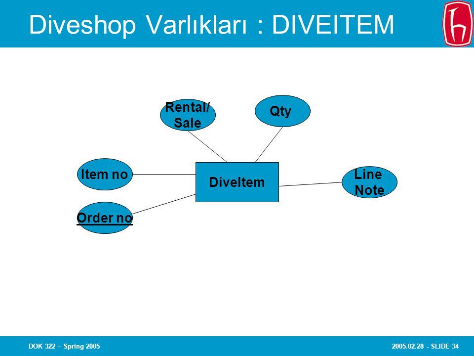 2005.02.28 - SLIDE 34DOK 322 – Spring 2005 Diveshop Varlıkları : DIVEITEM Item no Order no Rental/ Sale Qty Line Note DiveItem