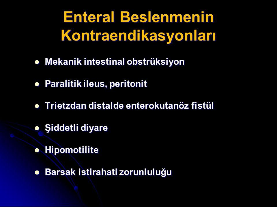 Enteral Beslenmenin Kontraendikasyonları Mekanik intestinal obstrüksiyon Mekanik intestinal obstrüksiyon Paralitik ileus, peritonit Paralitik ileus, p