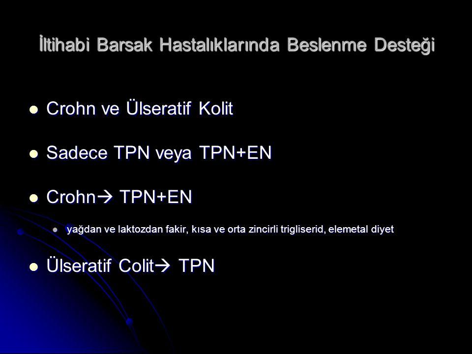 İltihabi Barsak Hastalıklarında Beslenme Desteği Crohn ve Ülseratif Kolit Crohn ve Ülseratif Kolit Sadece TPN veya TPN+EN Sadece TPN veya TPN+EN Crohn