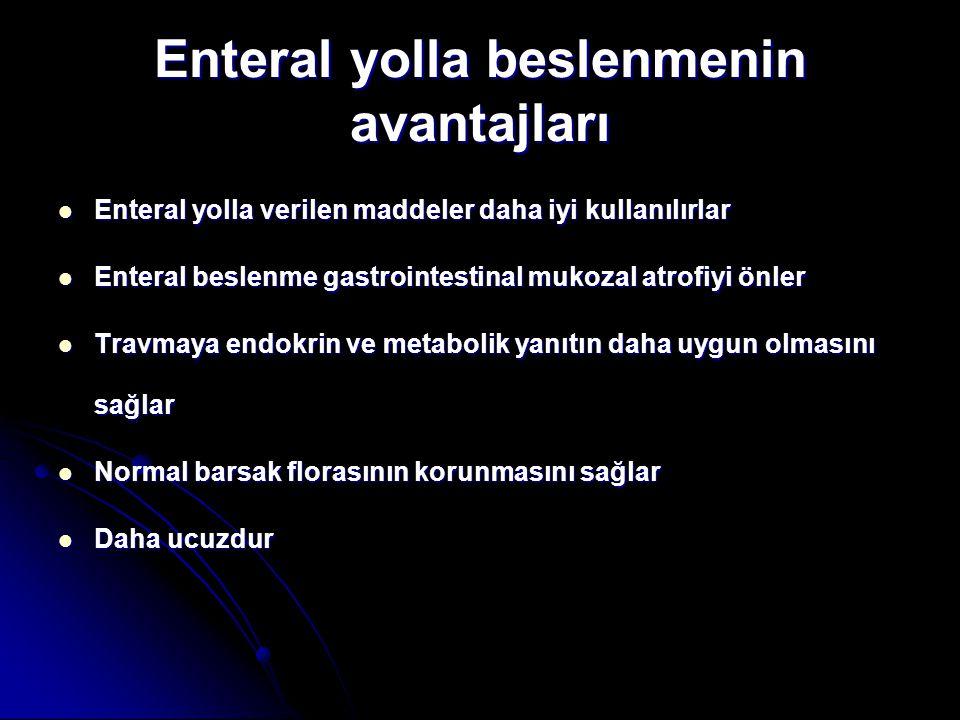 Enteral yolla beslenmenin avantajları Enteral yolla verilen maddeler daha iyi kullanılırlar Enteral yolla verilen maddeler daha iyi kullanılırlar Ente