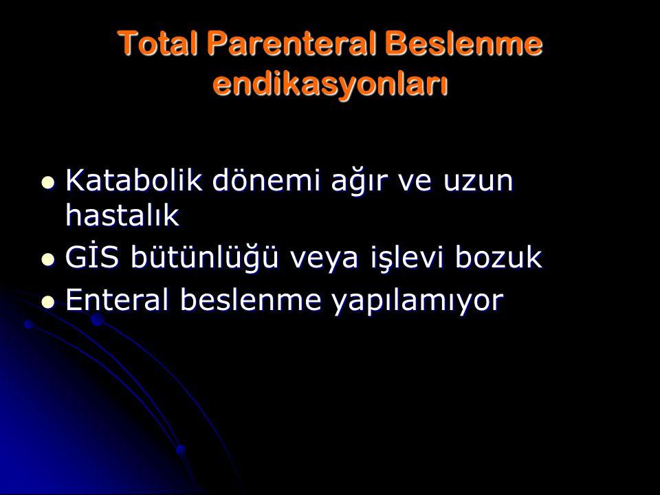 Total Parenteral Beslenme endikasyonları Katabolik dönemi ağır ve uzun hastalık Katabolik dönemi ağır ve uzun hastalık GİS bütünlüğü veya işlevi bozuk