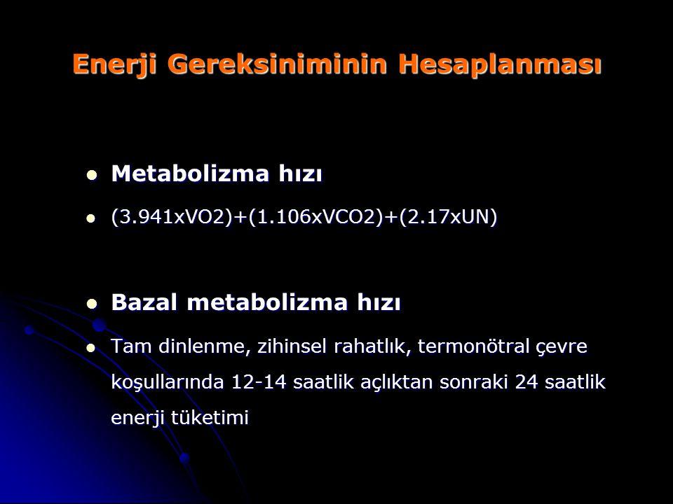 Enerji Gereksiniminin Hesaplanması Metabolizma hızı Metabolizma hızı (3.941xVO2)+(1.106xVCO2)+(2.17xUN) (3.941xVO2)+(1.106xVCO2)+(2.17xUN) Bazal metab