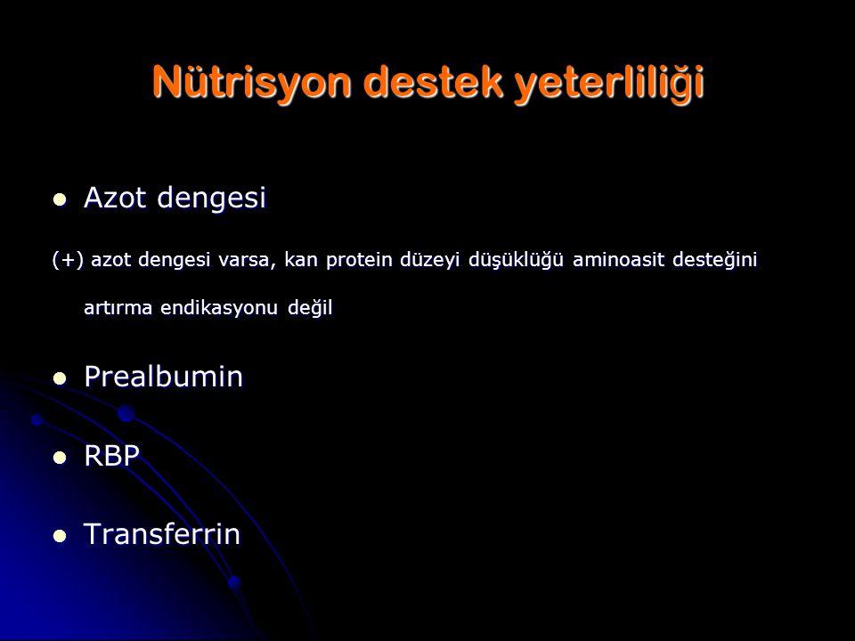 Nütrisyon destek yeterlili ğ i Azot dengesi Azot dengesi (+) azot dengesi varsa, kan protein düzeyi düşüklüğü aminoasit desteğini artırma endikasyonu