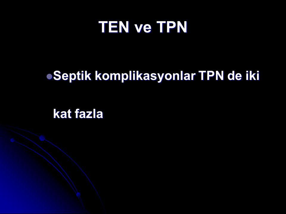 TEN ve TPN Septik komplikasyonlar TPN de iki kat fazla Septik komplikasyonlar TPN de iki kat fazla