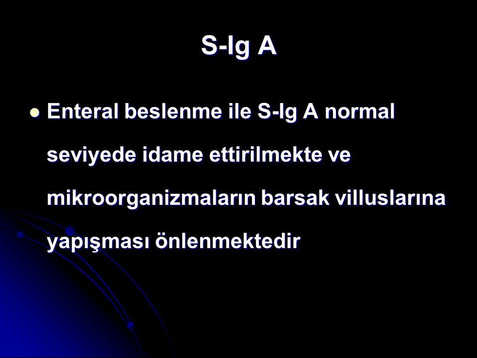S-Ig A Enteral beslenme ile S-Ig A normal seviyede idame ettirilmekte ve mikroorganizmaların barsak villuslarına yapışması önlenmektedir Enteral besle