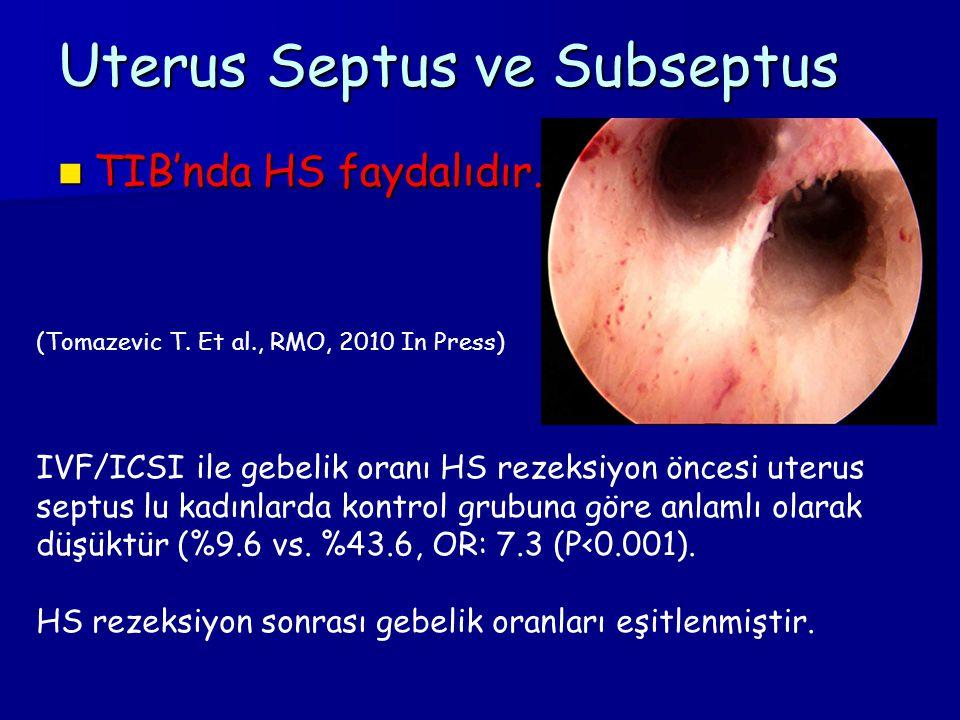 Uterus Septus ve Subseptus TIB'nda HS faydalıdır. TIB'nda HS faydalıdır. (Tomazevic T. Et al., RMO, 2010 In Press) IVF/ICSI ile gebelik oranı HS rezek