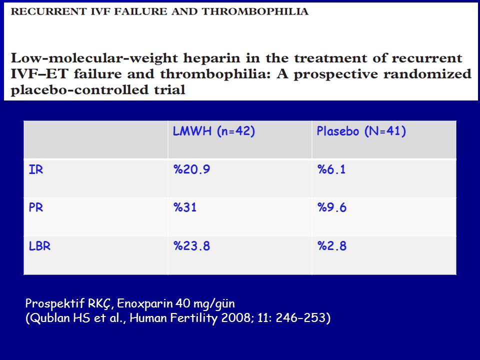 LMWH (n=42)Plasebo (N=41) IR%20.9%6.1 PR%31%9.6 LBR%23.8%2.8 Prospektif RKÇ, Enoxparin 40 mg/gün (Qublan HS et al., Human Fertility 2008; 11: 246–253)