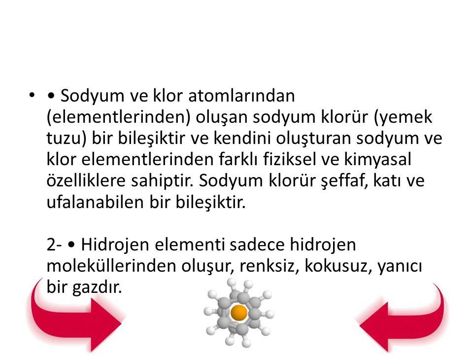 Sodyum ve klor atomlarından (elementlerinden) oluşan sodyum klorür (yemek tuzu) bir bileşiktir ve kendini oluşturan sodyum ve klor elementlerinden far