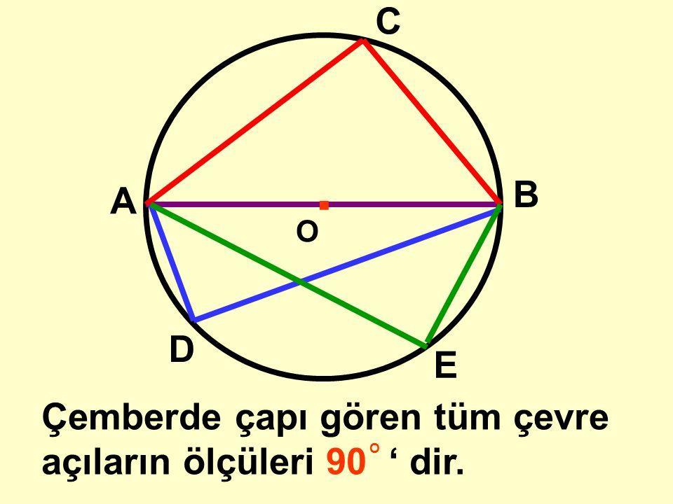O.. A B C Çemberde çapı gören çevre açının ölçüsü 90 ' dir. s(ABC) = 90 OO