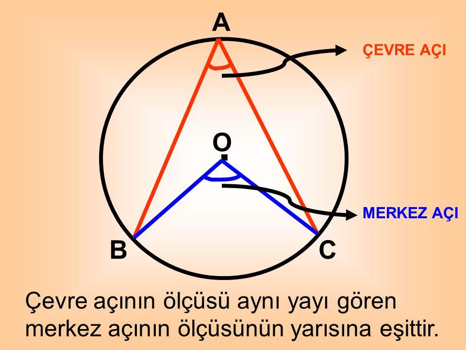 O A C E B D. Çemberde çapı gören tüm çevre açıların ölçüleri 90 ' dir. O