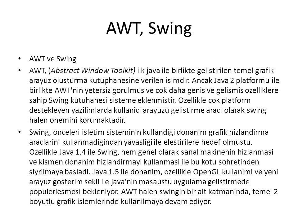SWT SWT: The Standard Widget Toolkit swing e bir alternatif olarak IBM tarafindan gelistirilen bir gosterim sistemidir.