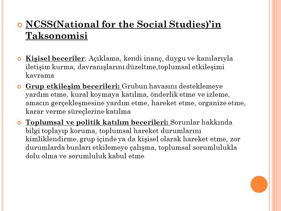 NCSS(National for the Social Studies)'in Taksonomisi Kişisel beceriler : Açıklama, kendi inanç, duygu ve kanılarıyla iletişim kurma, davranışlarını düzeltme,toplumsal etkileşimi kavrama Grup etkileşim becerileri: Grubun havasını desteklemeye yardım etme, kural koymaya katılma, önderlik etme ve izleme, amacın gerçekleşmesine yardım etme, hareket etme, organize etme, karar verme süreçlerine katılma Toplumsal ve politik katılım becerileri: Sorunlar hakkında bilgi toplayıp koruma, toplumsal hareket durumlarını kimliklendirme, grup içinde ya da kişisel olarak hareket etme, zor durumlarda bunları etkilemeye çalışma, toplumsal sorumlulukla dolu olma ve sorumluluk kabul etme