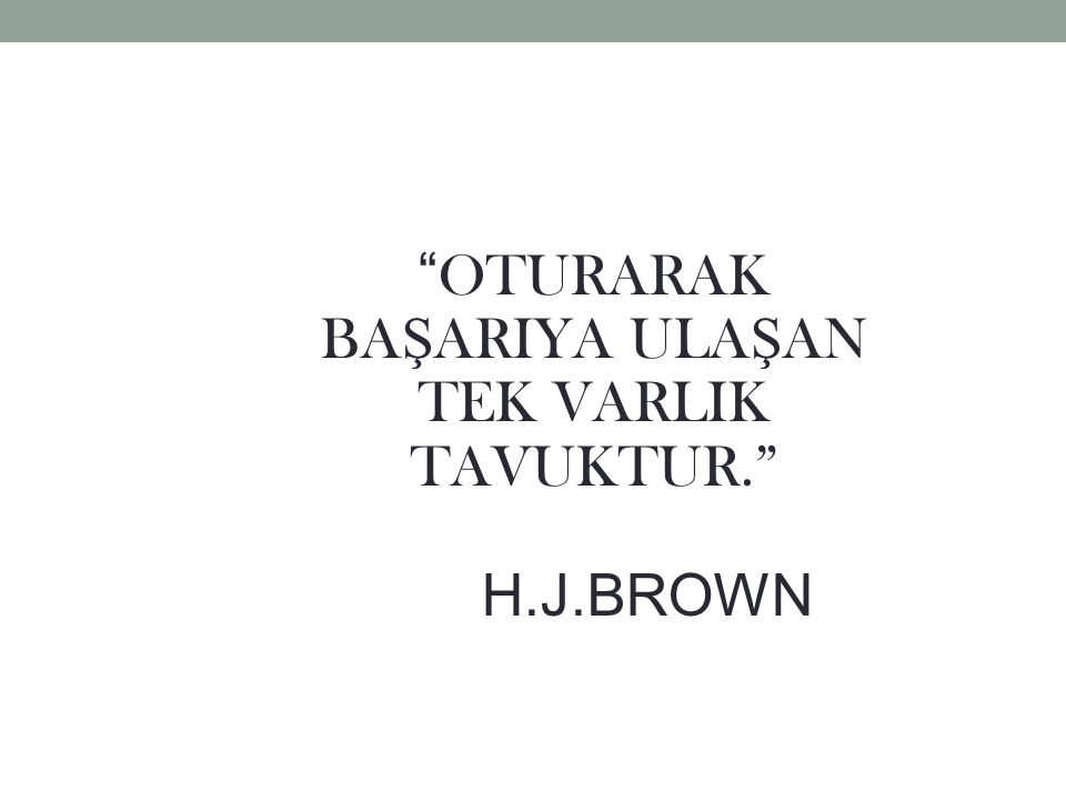 OTURARAK BA Ş ARIYA ULA Ş AN TEK VARLIK TAVUKTUR. H.J.BROWN