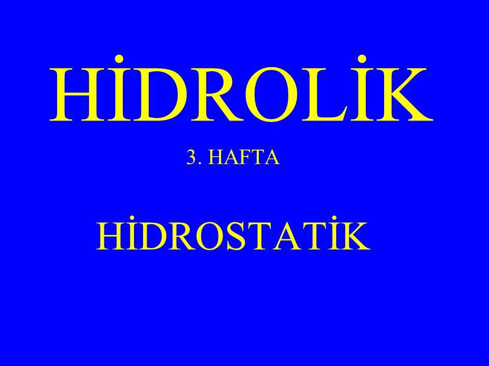 HİDROLİK 3. HAFTA HİDROSTATİK