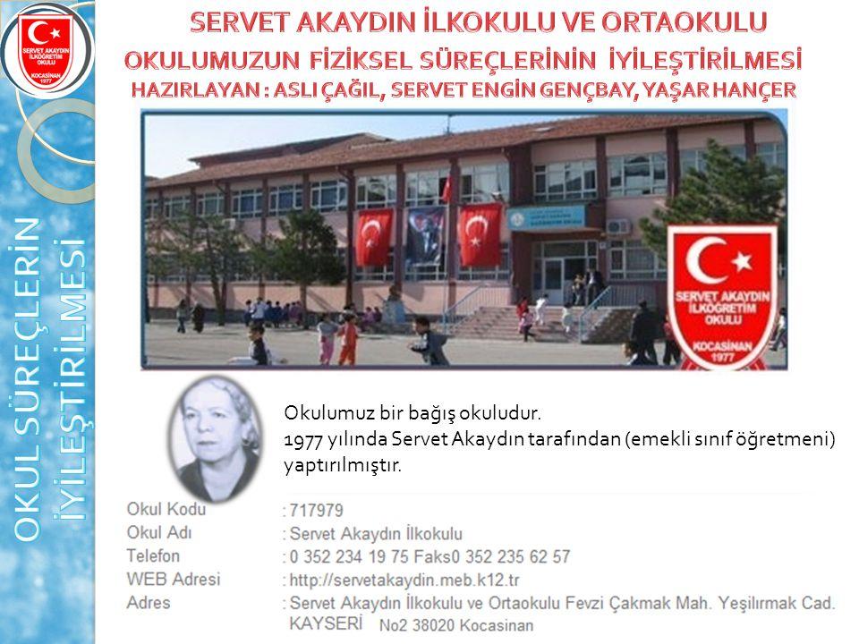 Okulumuz bir bağış okuludur. 1977 yılında Servet Akaydın tarafından (emekli sınıf öğretmeni) yaptırılmıştır.
